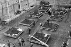Andamios y preparación de columnas.