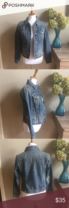 "NWOT GAP 1969 Limited Edition Distressed Jacket NWOT GAP 1969 Limited Edition Women's Distressed Jean Jacket. Pair it with just about anything. Sleeves measure approximately 22.5"". 👗👛👠👙👕Bundle & Save! GAP Jackets & Coats Jean Jackets"