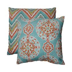 Add the perfect blend of style and comfort to any space in your home with this coordinating set of two 18-inch chevron and medallion throw pillows from Pillow Perfect. Knife edging adds the finishing touch to this wonderful decorative pillow.