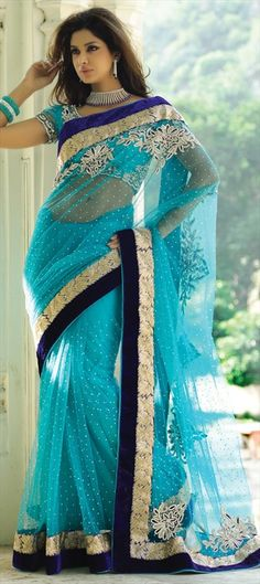 107013, Party Wear Sarees, Embroidered Sarees, Bridal Wedding Sarees, Net, Zari, Stone, Blue Color Family