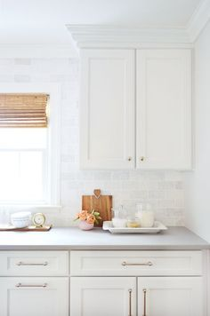 Kitchen Remodel Chapter The Big Reveal (Young House Love) Home Decor Kitchen, Rustic Kitchen, Home Kitchens, Kitchen Dining, Kitchen Tile, Kitchen Countertops, Subway Tile White Kitchen, Backsplash In White Kitchen, Gray Quartz Countertops
