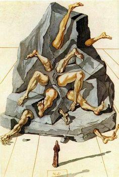 """Abandon all hope, ye who enter here"" -Dante Illustration from Divine Comedy by Salvador Dali Salvador Dali Gemälde, Salvador Dali Paintings, Spanish Artists, Art Moderne, Wassily Kandinsky, Fantastic Art, Surreal Art, Modern Art, Cool Art"