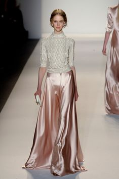 I wore almost this exact skirt, slightly darker rose color though, with a shiny pearlescent blouse for a wedding.  Jenny Packham Fall 2013