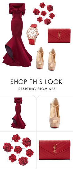 """Red#1"" by parisluv ❤ liked on Polyvore featuring Zac Posen, Christian Louboutin, Yves Saint Laurent and bürgi"