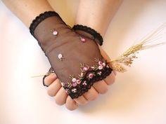 Black Wedding Gloves Lace Wedding Accessory Bridal by bytugce, $25.00