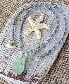 Sea Glass Jewelry Hawaii Beach Glass Necklace Wire Wrapped