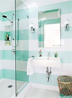 Teal and white stripes for bathroom.looks clean. Bright bathrooms make mornings so much easier.
