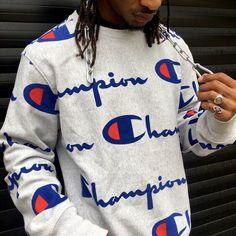 7a8e5b66022dd Champion Sweater All Over Print Reverse Weave Sweatshirt - Depop   Mensoutfits Champion Clothing Mens