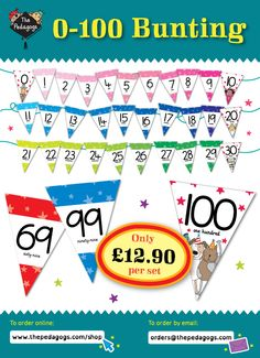 Joyfully colourful bunting and comes already attached to satin ribbon so you can hang it up in a jiffy. Create a number rainbow in your classroom today! http://www.thepedagogs.com/cscart/index.php?target=products&product_id=30250
