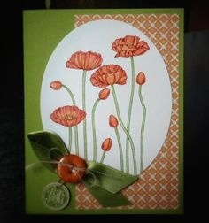 SU! Pleasant Poppies background stamp 3rd in oval series