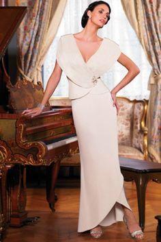 Asymmetric length sexy deep V neck  Mother Of  The Bride Dress