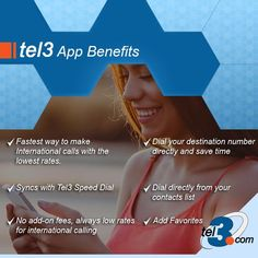 We offer the best benefits in our #Tel3 network, check some of them in the picture www.tel3.com