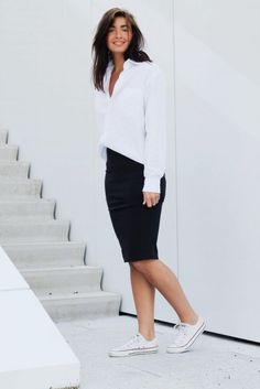 @roressclothes closet ideas #women fashion outfit #clothing style apparel white top black skirt