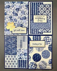 32 cards made with the Stampin' Up! Boho Indigo Product Medley. #nancysniftynotes