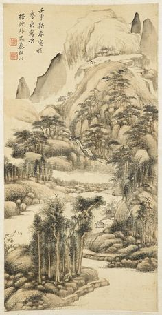 Ashmolean − Eastern Art Online, Yousef Jameel Centre for Islamic and Asian Art Asian Landscape, Landscape Art, Chinese Painting, Chinese Art, Vintage Art, Vintage World Maps, Oriental, Japan Painting, Artist Names
