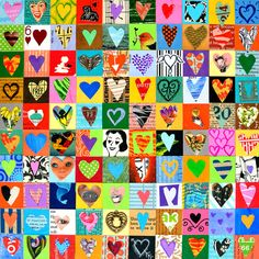 100 HEARTS love art mixed media hearts ORIGINAL art by Elizabeth Rosen