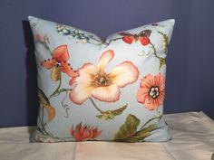 DURALEE Linen/Cotton Lt. Blue Floral; Lee Jofa Silk Back Custom pillow