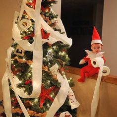 Flipped on the lights and caught him red handed. Somebody needs to start earning his keep around here. #rocktheelf #elfontheshelf