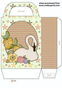 Floral swan gift bag on Craftsuprint designed by Sharon Poore - Floral swan gift bag,you will need to print 2 sheets to make gift bag - Now available for download!