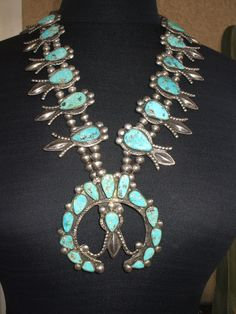 Museum Quality Hand-Made 1940s NAVAJO Squash Blossom Necklace TURQUOISE Sterling