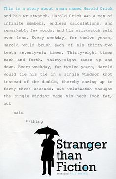 """Stranger than fiction  A great movie about writing. """"Little did he know"""", becomes more than just a writers' phrase."""