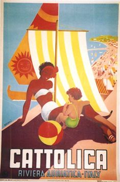 FASHION GIRLS SWIMSUIT BEACH IN SICILY ITALY SUMMER TRAVEL VINTAGE POSTER REPRO