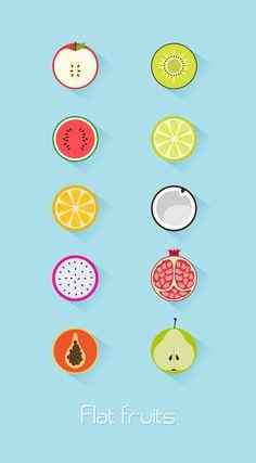 Flat fruits icon on Behance