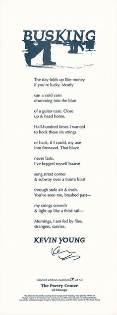 """""""Busking"""" by Kevin Young: Broadsides by The Poetry Center of Chicago"""