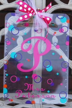 Personalized Acrylic Clipboard - Great Appreciation Gift For A Teacher, Coach, Nurse, Student, Office Staff Or Graduation Gift. $13.50, via Etsy.