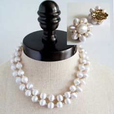 Bridal White Multi Strand Necklace Set White by Flourisheshome