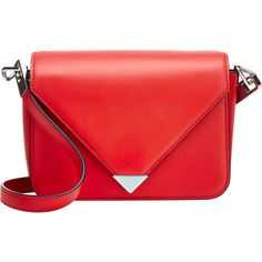 Alexander Wang Prisma Envelope Shoulder Bag ($750) ❤ liked on Polyvore featuring bags, handbags, shoulder bags, red, shoulder strap bag, red shoulder handbags, flat purse, accessories handbags and red purse