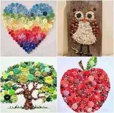 Heart, Owl, Tree, Apple Button Wall Art