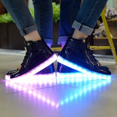 8 Colors Led Shoes Men Women High Top Sneakers Luminous Shoes,Led Shoes For Adult Light Up Shoes 35-46