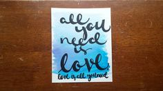All you need is love love is all you need Canvas Quote Art Wall Hanging Home Decor Wall Art Inspirational Quote Watercolor Painting by ArtOfWordsBoutique