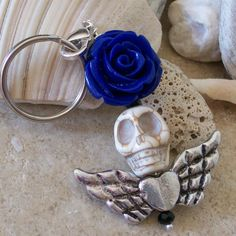 Skull and Rose Pendant Keychain by VivaGailBeads