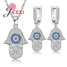 Jemmin Fashion Bowknot Design Jewelry Set S925 Silver And 1piece Necklace with 1pair Earrings For Costume Party
