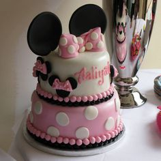 Making this adorable minnie mouse cake for my 2 year old!  How beautiful is this?