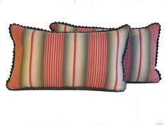 Antique French Ticking Pillows/Pair