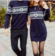 Not so much into the matching couples theme here but i do like the navy fair isle sweater dress. Matching Christmas Jumpers, Couples Christmas Sweaters, Matching Christmas Outfits, Christmas Couple, Holiday Outfits, Christmas Shirts, Xmas, Matching Couple Outfits, Matching Couples