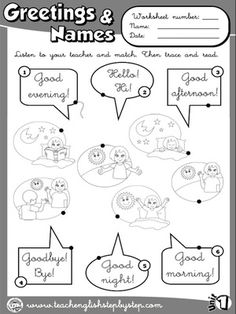 52 best images on pinterest english classroom greetings and names worksheet 1 bw version m4hsunfo