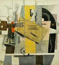 Pablo Picasso, 1914 Le violon on ArtStack Pablo Picasso, Art Picasso, Picasso Paintings, Picasso Collage, Oil Paintings, Jean Michel Basquiat, Roy Lichtenstein, Andy Warhol, Paris France