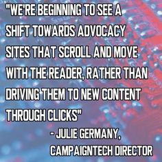 """There's a new blog post on the CampaignTech website. Learn about """"The Changing Face of Advocacy Websites"""" at http://www.campaigntechconference.com/articles"""