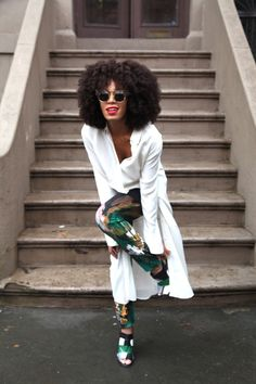 Solange. Statement Trousers with Bright White Top. •Visit www.styleopath.com for a chance to win £200 worth of luxury afro hair products. ~Visit: http://styleopath.com