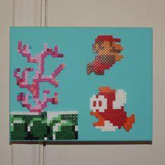 Mario scene - Canvas perler beads by Thalia's Crafts Perler Earrings, Diy Perler Beads, Pearler Beads, Fuse Beads, Pearler Bead Patterns, Perler Patterns, Pixel Art, Hama Art, Perler Bead Mario