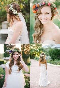 Ślubne wianki na głowę • 44 pomysły • Sweet Wedding Bridal Headdress, Wedding Hairstyles, Wedding Inspiration, Flower Girl Dresses, Wedding Dresses, Flowers, Weddings, Fashion, Bride Dresses