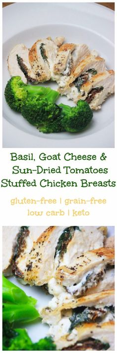 My PCOS Kitchen - Stuffed Chicken Breasts with Basil, Goat Cheese and Sun Dried Tomatoes - The best low carb and gluten-free dinner idea! via (best tomato soup families) Healthy Gluten Free Recipes, Diet Recipes, Chicken Recipes, Cooking Recipes, Keto Chicken, Ketogenic Recipes, Recipies, Clean Eating, Healthy Eating