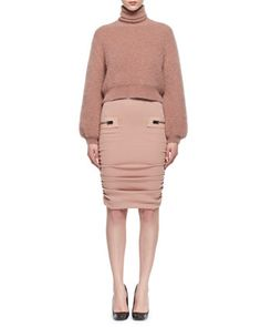 Leather-Trim+Shirred+Pencil+Skirt+and+Matching+Items+by+TOM+FORD+at+Neiman+Marcus.