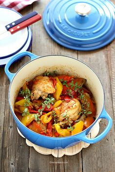 chicken_pollo alla romana, pollo con peperoni, Le creuset