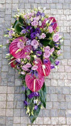 Funeral Flowers Purple - Anthurium, Eustoma, Roses
