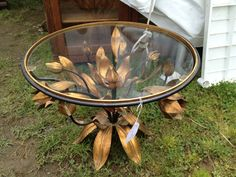 bklyn contessa :: brimfield find :: brass tulip base table
